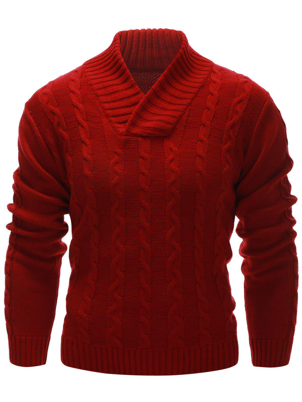 Cable Knit Rib Hem Pullover Sweater 201281101