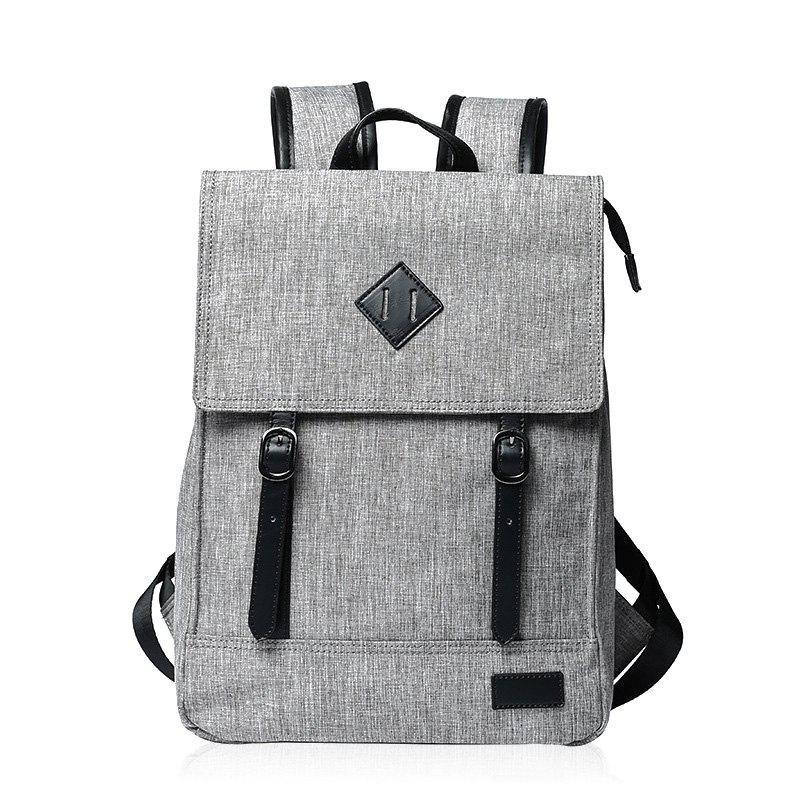 Double Buckle Splicing Colour Block Backpack - LIGHT GRAY