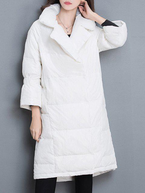 Balloon Sleeve Puffer Jacket - WHITE XL