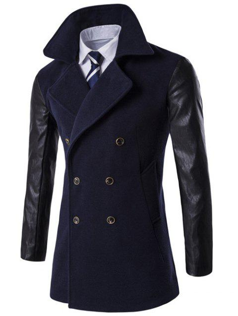 Turndown Collar PU-Leather Spliced Double Breasted Coat - CADETBLUE 2XL