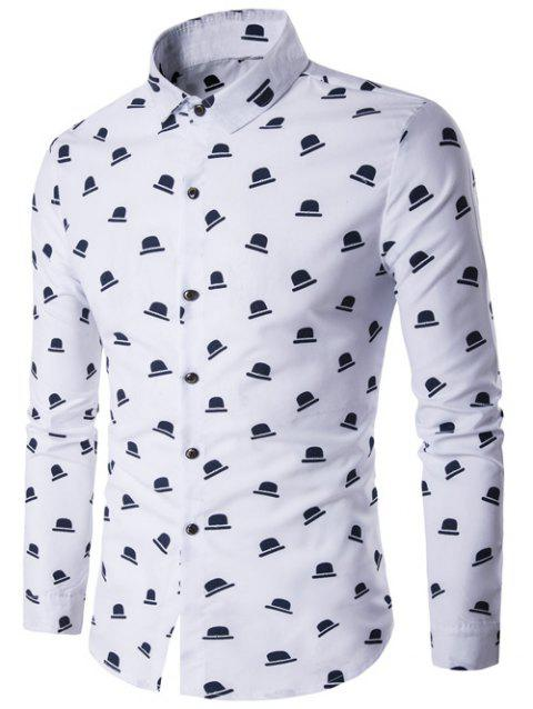Hat Print Turndown Collar Long Sleeve Shirt - WHITE L