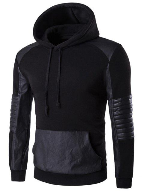 PU Leather Splicing Design Color Block Hoodie - BLACK L