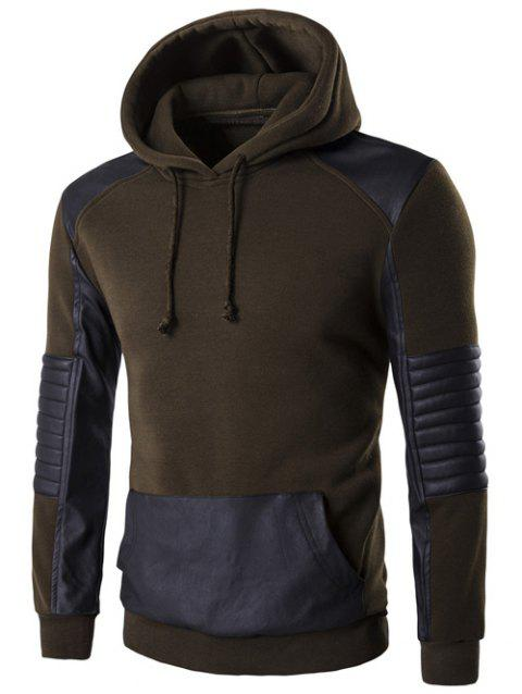 PU Leather Splicing Design Color Block Hoodie - ARMY GREEN M