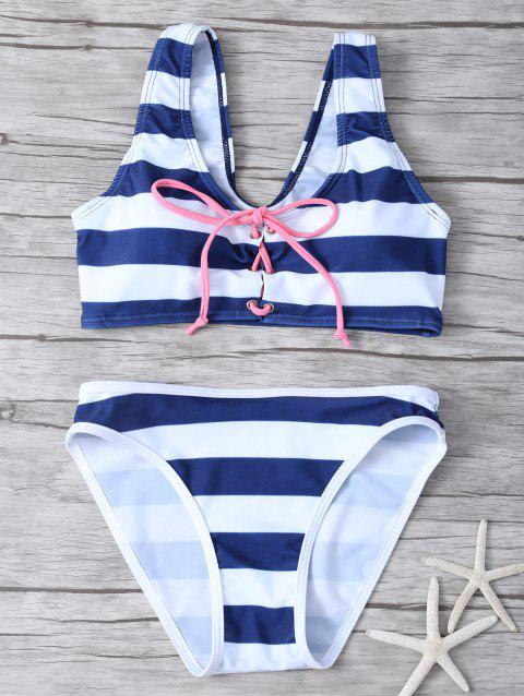 Lace Up Striped Bikini - Rayure L