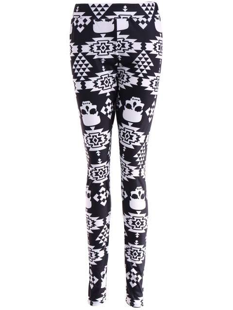 Leggings Stretchy à Motif Crâne - Noir M