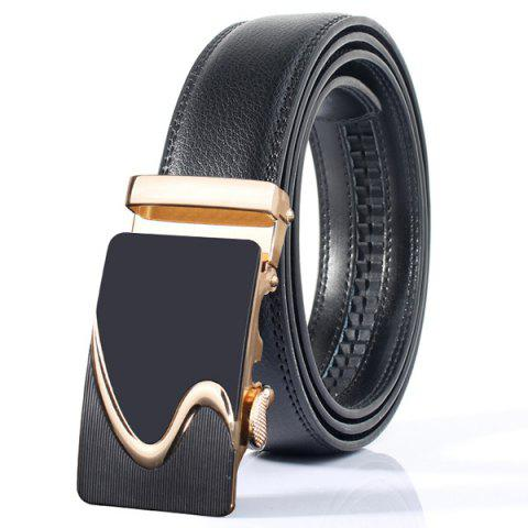 Polished S Shape Stylish Automatic Buckle Wide Belt - GOLDEN