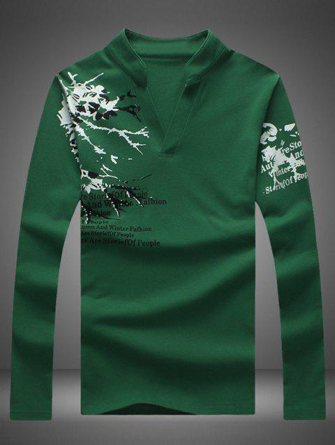 Notched Stand Collar Printed Long Sleeve Tee - BLACKISH GREEN 2XL