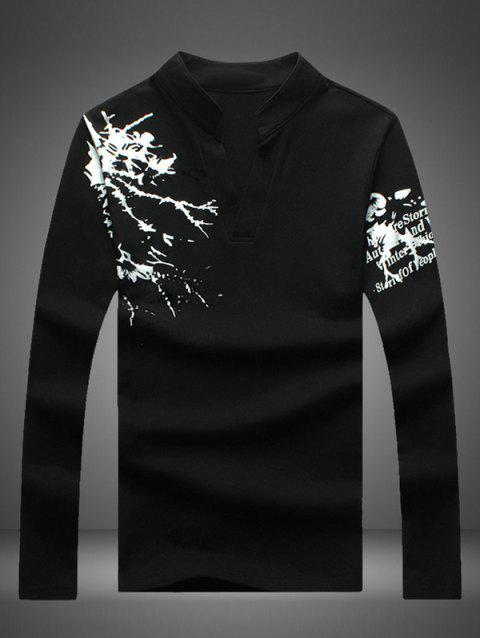 Notched Stand Collar Printed Long Sleeve Tee - BLACK XL