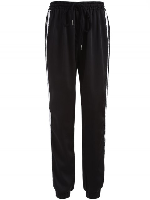 Drawstring Striped Gym Jogger Pants - BLACK M