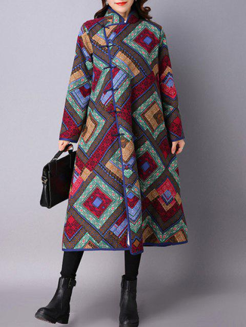 Argyle Chinese Style Loose Coat - DEEP BROWN L