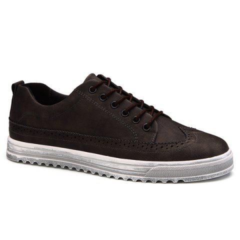 Retro Engraving and Lace-Up Design Men's Casual Shoes - DEEP BROWN 43