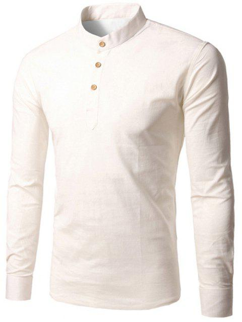 Half Button Up pied de col Pull shirt - Blanc XL