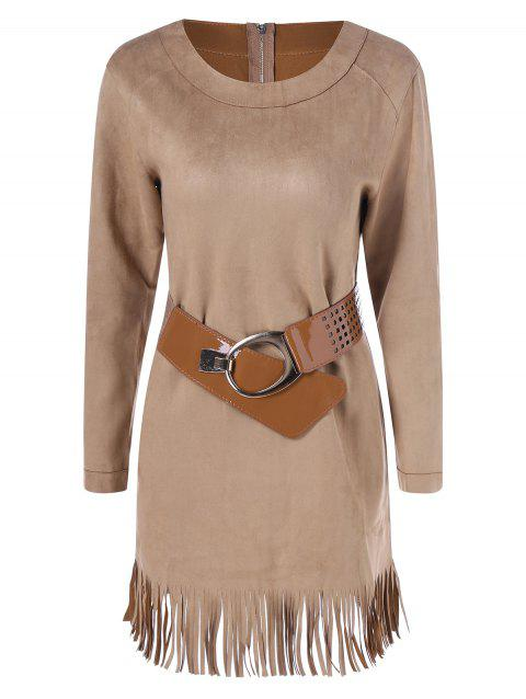 Long Sleeve Sueded Fringe Belted Dress - CAMEL S