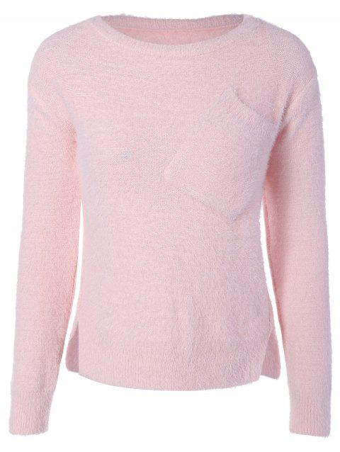 Fuzzy High Low Sweater with Pocket - SHALLOW PINK ONE SIZE