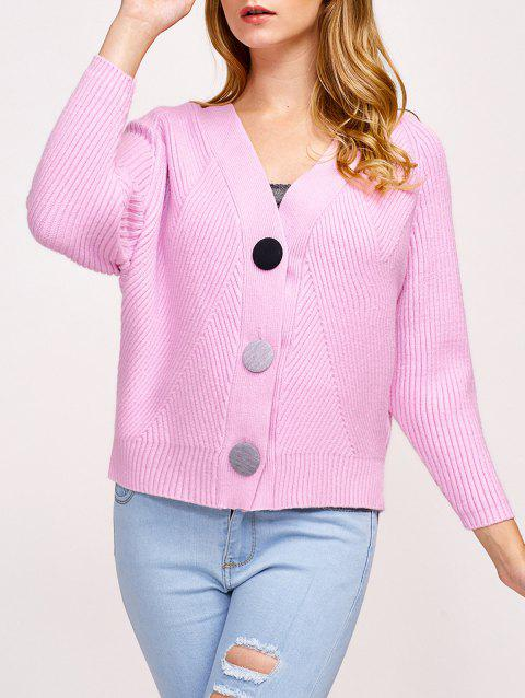 Knitted Button Up Ribbed Cardigan - PINK ONE SIZE