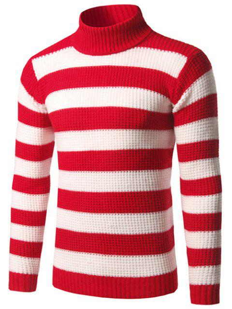 Texture Turtleneck Striped Sweater - RED M