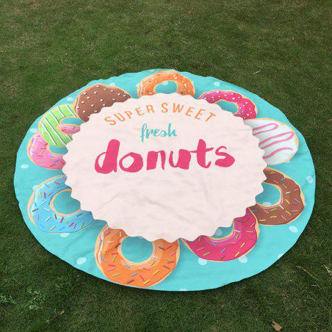Delicious Donuts Print Round Beach Throw - CLOUDY ONE SIZE