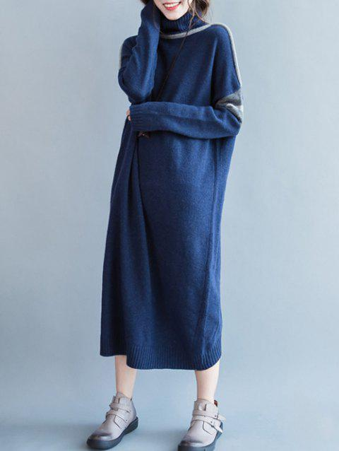 Turtle Neck Loose Sweater Dress - DEEP BLUE ONE SIZE