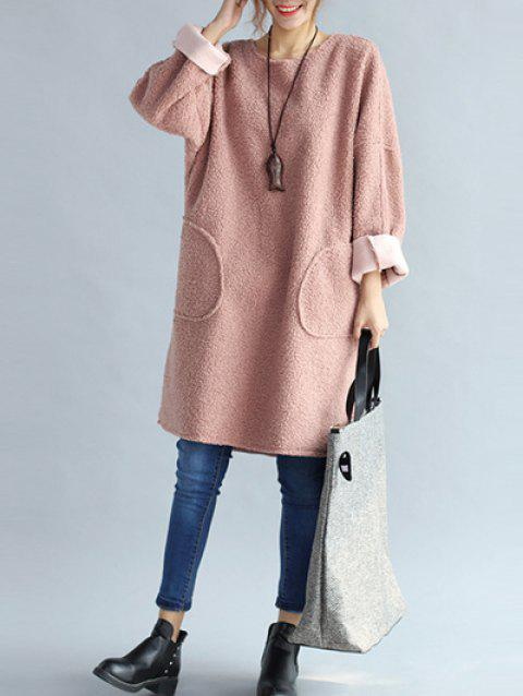 Fuzzy Double Pocket Loose Dress - PINK ONE SIZE