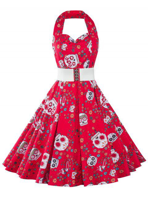 Halter Floral Short Backless Homecoming Dress - RED 2XL