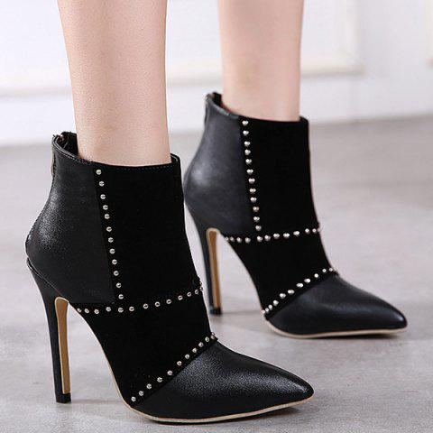 Suede Panel Rivet Stiletto Heel Boots - BLACK 37