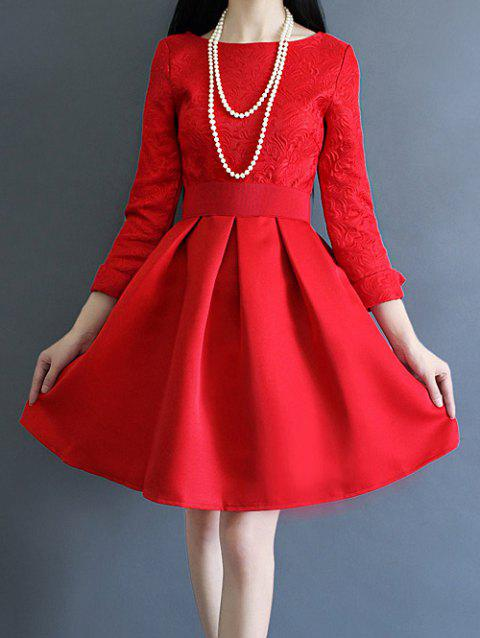Ruched Jacquard Ball Dress - RED XL