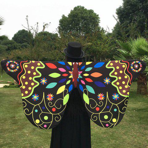 Ethnic Colorful Butterfly Scarf - BLACK