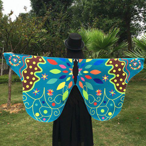 Ethnic Colorful Butterfly Scarf - LAKE BLUE