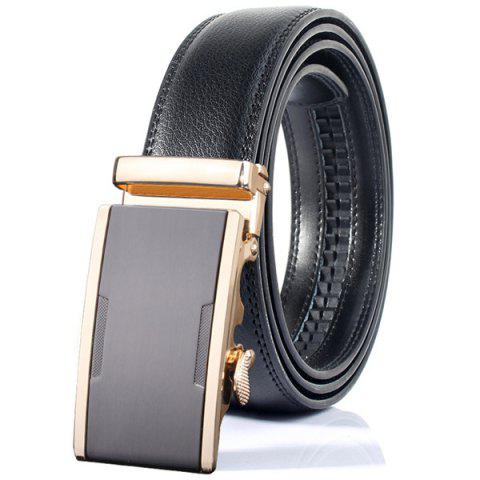 Embellished Alloy Simple Automatic Buckle Wide Belt - GRAY