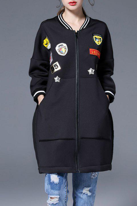 Applique Coat with Pocket - BLACK XL