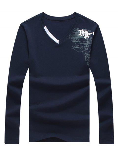 Graphic Printed Long Sleeve V Neck Tee - CADETBLUE 3XL