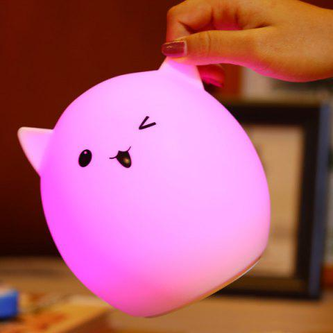Colorful Ombre Pig Cartoon USB Charging LED Night Light - WHITE