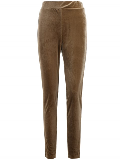 Metallic Color Leggings - LIGHT COFFEE S