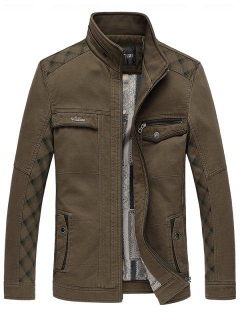 Pied de col Pocket Insert Zip Up Jacket - Café 2XL