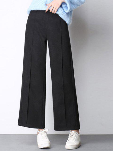 Woolen High Waist Wide-Leg Pants - BLACK 3XL
