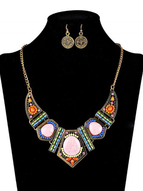 Bohemian Natural Stone Necklace and Earrings - GOLDEN