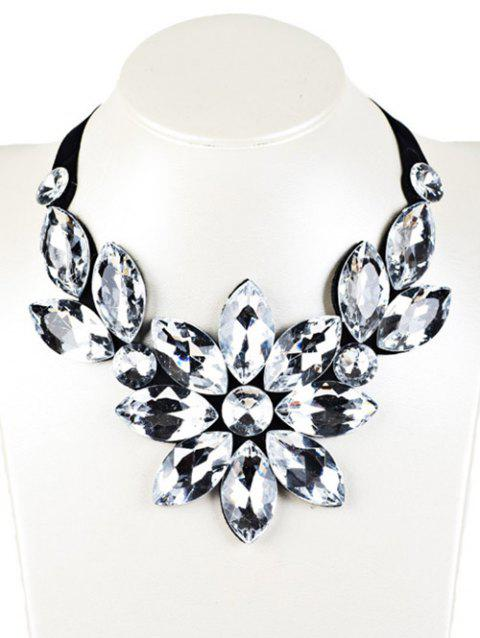 Faux Crystal Floral Statement Necklace - WHITE