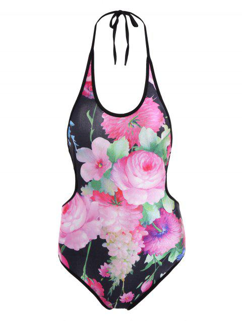 Halter Floral Cross-Criss One-Piece Swimwear - PINK ONE SIZE