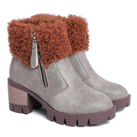 Vintage Chunky Heel Faux Fur Ankle Boots - GRAY 38