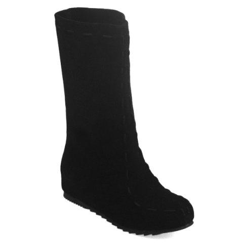 Increased Internal Suede Mid Calf Boots - BLACK 37