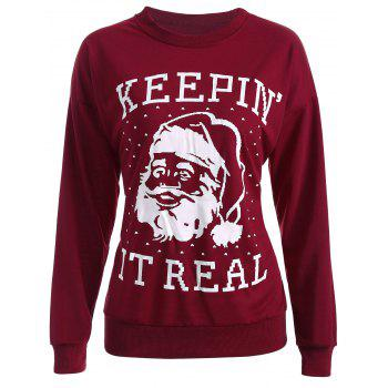 Streetwear Christmas Santa Claus Head Sweatshirt - WINE RED WINE RED