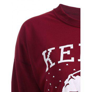 Streetwear Christmas Santa Claus Head Sweatshirt - WINE RED L