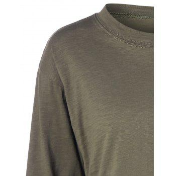 Plus Size Long Sleeve T Shirt - ARMY GREEN 5XL