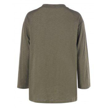 Plus Size Long Sleeve T Shirt - ARMY GREEN 3XL