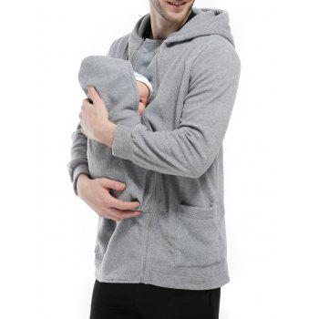 Zipper Up Detachable Pocket Baby Carrier Kangaroo Hoodie - GRAY GRAY