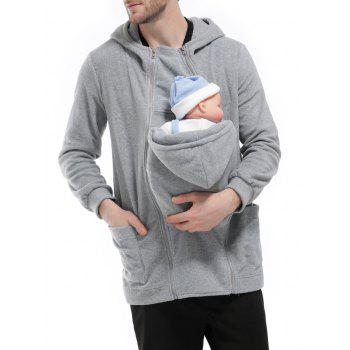 Zipper Up Detachable Pocket Baby Carrier Kangaroo Hoodie - L L