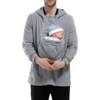 Zipper Up Detachable Pocket Baby Carrier Kangaroo Hoodie - GRAY L