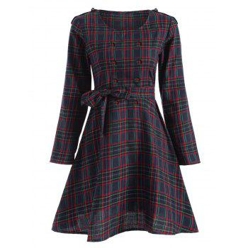 Tartan Plaid Long Sleeve A Line Modest Dress