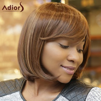 Stunning Women's Medium Straight Side Bang Capless Brown Mixed Synthetic Wig - COLORMIX