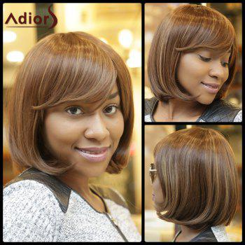 Stunning Women's Medium Straight Side Bang Capless Brown Mixed Synthetic Wig